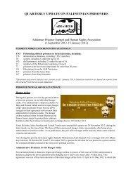 QUARTERLY UPDATE ON PALESTINIAN PRISONERS