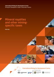 Mineral royalties and other miningspecific taxes