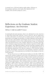 Reflections on the Graduate Student Experience: An Overview