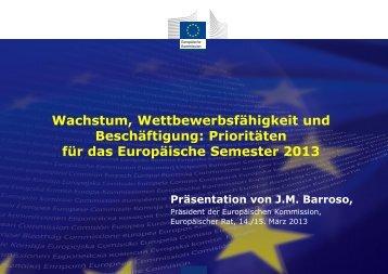für das Europäische Semester 2013