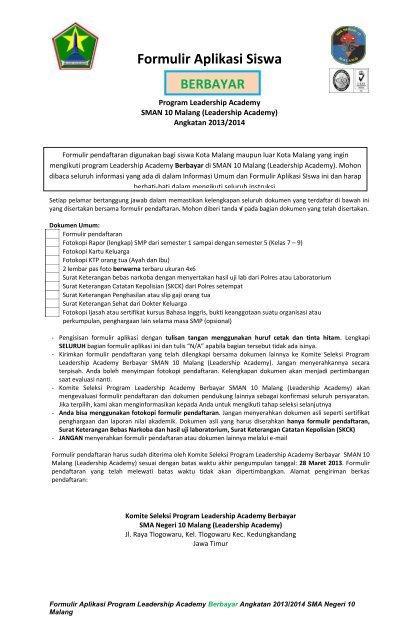 Formulir Aplikasi Calon Siswa Baru Fee Paying Berbayar 2013