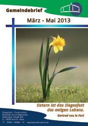 Gemeindebrief März bis Mai 2013