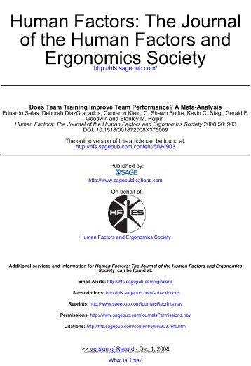 Human Factors: The Journal of the Human Factors and Ergonomics Society