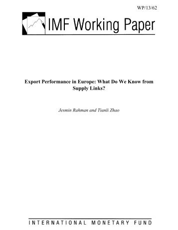 Export Performance in Europe: What Do We Know from Supply Links?