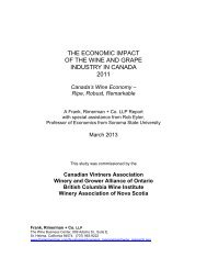 THE ECONOMIC IMPACT OF THE WINE AND GRAPE INDUSTRY IN CANADA 2011