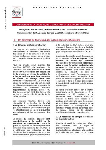 COMMISSION I. – Un système de formation des enseignants insatisfaisant