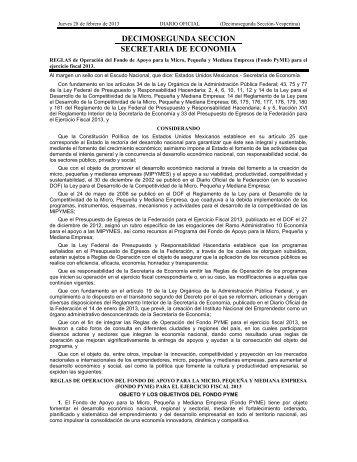 DECIMOSEGUNDA SECCION SECRETARIA DE ECONOMIA