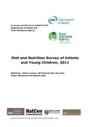Diet and Nutrition Survey of Infants and Young Children, 2011