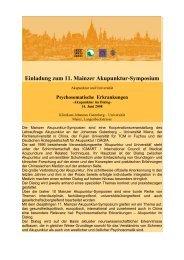 Einladung zum 11. Mainzer Akupunktur-Symposium - bei der DÄGfA