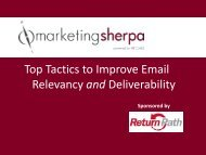 Top Tactics to Improve Email Relevancy and ... - MarketingSherpa
