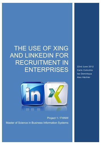 The use of XING and Linkedin FOR RECRUITMENT in ... - IT-Konkret