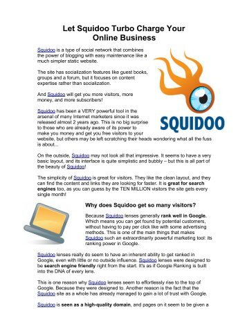 Let Squidoo Turbo Charge Your Online Business - top411