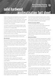 acclimatisation fact sheet solid hardwood - Boral