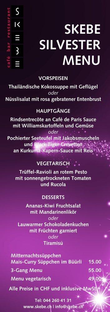 SKEBE SILVESTER MENU - Kramer Gastronomie