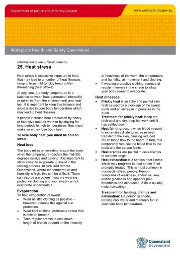 Rural fact sheet 25. Heat stress - Queensland Government