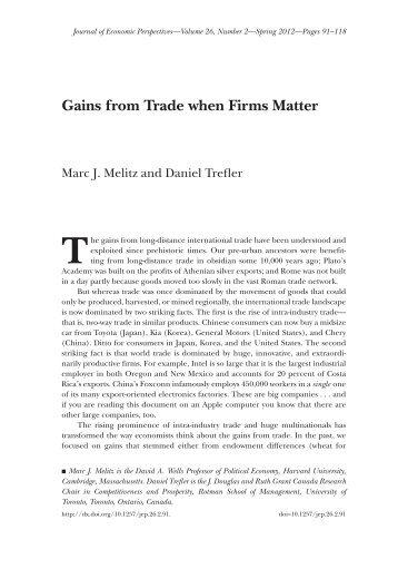 Gains from Trade when Firms Matter - CIFAR