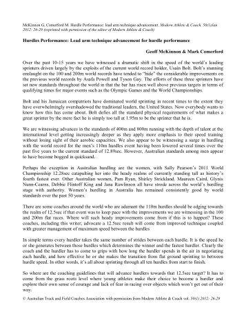 Hurdle Performance: lead arm technique advancement - The ...