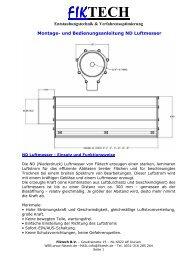 Fiktech Luftmesser Blasbalk Luftvorhang Luftstromverstärker Luftrakel Transvektor Montageanleitung