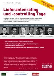 Lieferantenrating und -controlling Tage - Soplex Consult GmbH