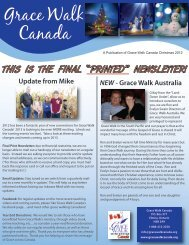 Christmas 2012 Newsletter - Grace Walk Canada