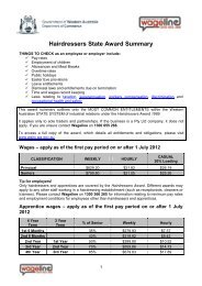 Hairdressers State Award Summary - Department of Commerce