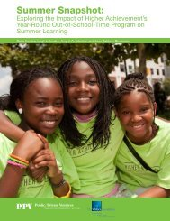 Summer Snapshot: Exploring the Impact of Higher Achievement's ...