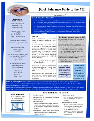 Quick Reference Guide to the NLI - National Collegiate Athletic ...