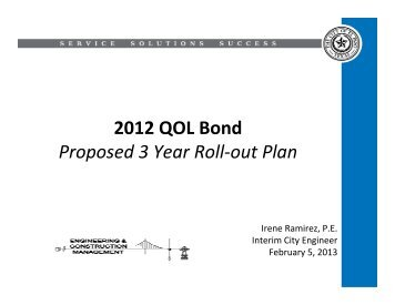 2012 QOL Bond Proposed 3 Year Roll-out Plan - City of El Paso