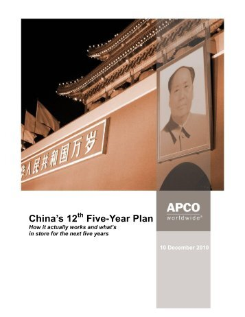 China's 12th Five-Year Plan - APCO Worldwide