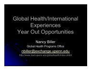 Global Health/International Experiences Year Out Opportunities