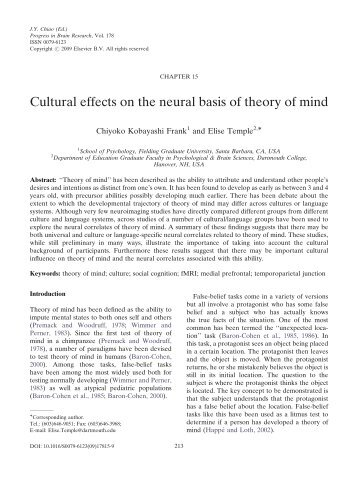 Cultural effects on the neural basis of theory of mind - iSites