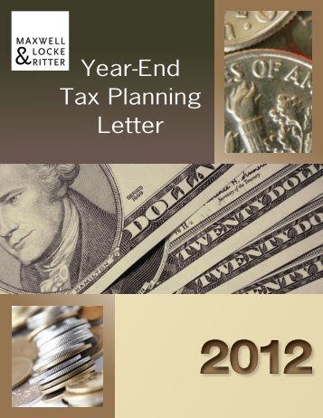 2012 Year End Tax Planning Letter