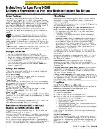 Ca 540 form 2012 instructions