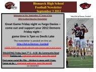 Bismarck High School Football Newsletter September ... - BHS Home