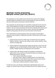 Strategic touring programme Mid-year review, year one, 2012/13