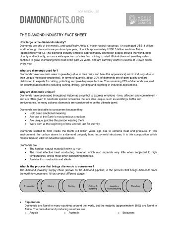 the diamond industry fact sheet - World Diamond Council - WDC