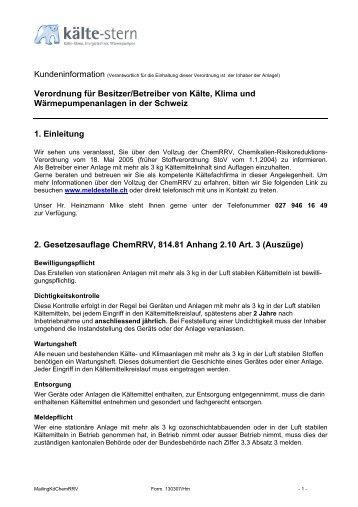 Kältemittel Gesetzesauflage ChemRRV, 814.81 Anhang 2.10 Art. 3