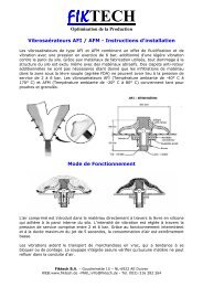 Fiktech Vibrosaerateurs Instructions d'installation