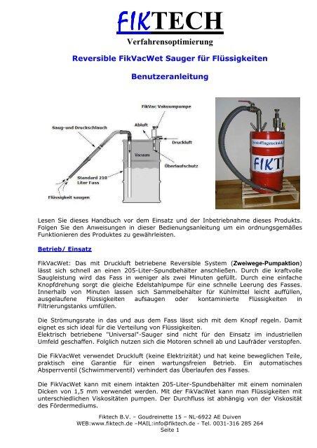 Vakuumpumpen (Fasspumpe) - Sauger für Trockensubstanz, Flüssigkeiten und Schlamm