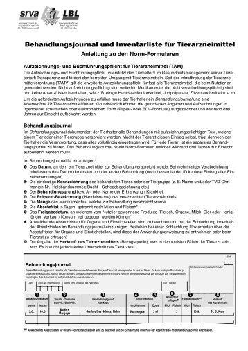 Behandlungsjournal und Inventarliste für Tierarzneimittel