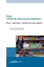 Projet « Profils de connaissance/compétence » - Publications