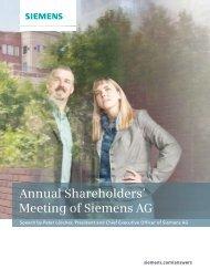 Speech Peter Löscher Annual Shareholders' Meeting 2013 - Siemens