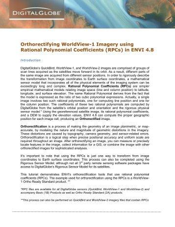 Orthorectifying worldview-1 imagery using rational - DigitalGlobe
