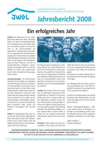 Ein erfolgreiches Jahr Jahresbericht 2008 - Jugendwohngruppen ...