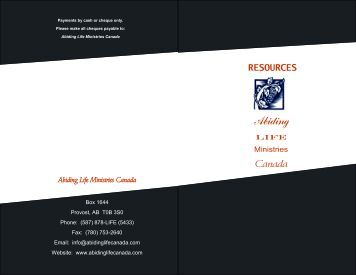 2012 Resources Brochure - PDF - Abiding Life Ministries Canada