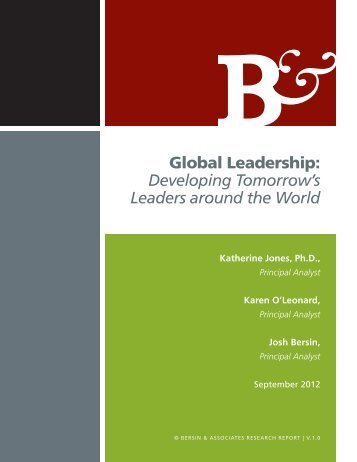 Global Leadership: Developing Tomorrow's Leaders around the World