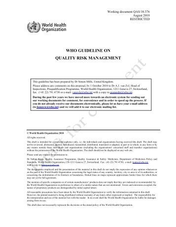 who guideline on quality risk management - World Health ...