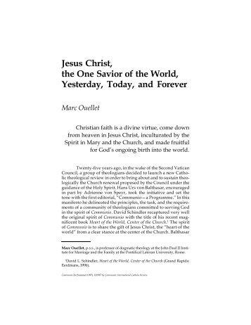 Jesus Christ, the One Savior of the World, Yesterday ... - Communio