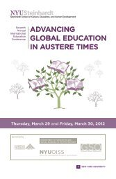 advancing global education in austere times - NYU Steinhardt ...