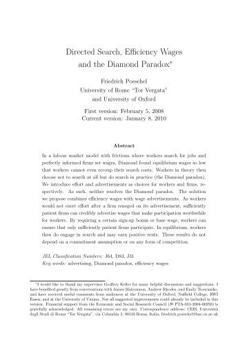 Directed Search, Efficiency Wages and the Diamond Paradox